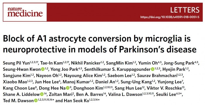 ▲Block of A1 astrocyte conversion by microglia is neuroprotective in models of Parkinson's disease, 10.1038/s41591-018-0051-5