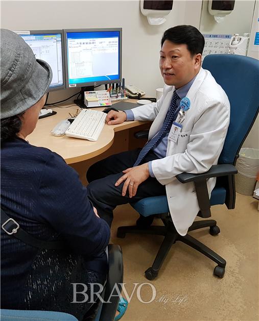 ▲강동경희대병원 내분비내과에서 진료 받는 김영선 동년기자(김영선 동년기자)