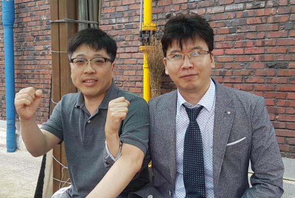▲J2H 바이오텍의 김재선 대표(왼쪽)와 유형철 대표.