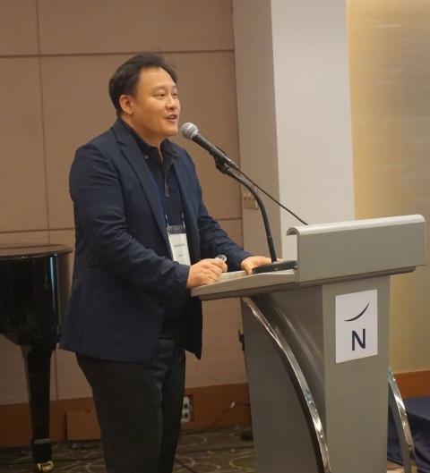▲임정희 인터베스트 전무가 17일 서울 강남 노보텔 앰배서더에서 개최된 'KAIST CHIP 2018 Global Advisory Workshop'에서 '한국바이오벤처 투자현황과 가치평가'라는 주제로 발표하고 있다.