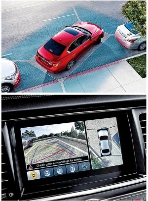 ▲'어라운드 뷰 모니터'는 주차 중인 차를 위에서 내려다보는 듯한 영상이 특징이다. 일본 닛산이 처음으로 개발했고 이제 많은 완성차 메이커가 같은 기술을 사용하고 있다.