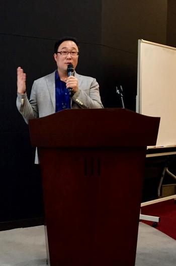 ▲남기연 큐리언트 대표는 27일 유진투자증권에서 열린