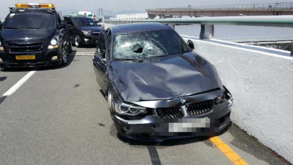 ▲'김해공항 BMW 질주 사고' 운전자의 차량.(연합뉴스)