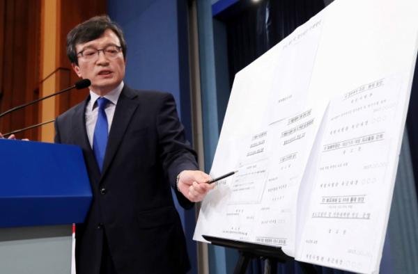 ▲김의겸 대변인이 20일 오후 청와대 춘추관에서 '계엄령 문건'의 세부자료를 공개하고 있다.(뉴시스)
