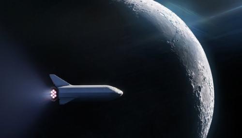 ▲스페이스X가 17일(현지시간) 세계 최초 민간 달 여행 로켓을 발사한다. 사진은 달 궤도를 돌게 될 스페이스X의 빅 팰컨 로켓 조감도. 출처 스페이스X 트위터