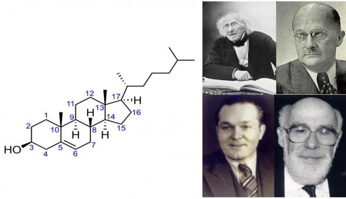 ▲그림 2 : (좌) 콜레스테롤의 구조식. 콜레스테롤의 존재는 이미 18세기부터 알려져 있었지만 4개의 고리형 구조로 되어 있는 콜레스테롤의 구조가 정확히 규명되는 것은 20세기 초반에서였다. (우) 초기 콜레스테롤 연구의 선구자들. 콜레스테롤이라는 이름을 처음 붙인 미셀 쉐브렐 (Michel E Chevrel, 좌상단), 죽상경화증 환자의 죽상물질에 콜레스테롤이 존재한다는 것을 밝힌 아돌프 윈다우스 (Aldolf Windaus, 우상단), 혈액 중에 지단백질 복합체와 콜레스테롤이 존재함을 확인한 미셀 마체보우프 (Michel Michebouef, 좌하단), 초원심분리기를 이용하여 혈중 지단백질이 밀도가 낮은 저밀도 지단백질 (LDL)과 밀도가 높은 고밀도 지단백질 (HDL)로 나뉜다는 것을 확인하였으며 이의 혈중 농도 측정법을 개발한 존 고프만 (John Goffman).