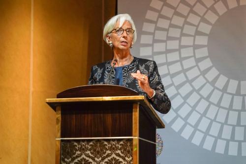 ▲크리스틴 라가르드 IMF 총재가 10일(현지시간) 인도네시아 발리에서 IMF-세계은행 연차총회 기간 열린 무역 콘퍼런스에서 연설하고 있다. 발리/로이터연합뉴스
