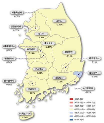 ▲시도별 아파트 매매가격지수 변동률(사진=한국감정원)