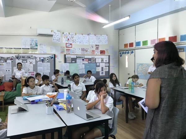 ▲블루피시(BluePhish)가 싱가포르 학생들을 대상으로 디지털 인성에 관한 워크숍을 진행하고 있다. 사진제공=블루피시