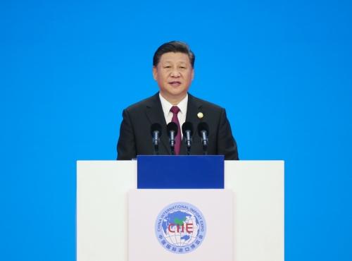 ▲시진핑 중국 국가주석이 지난해 11월 5일(현지시간) 국가회의전람센터(NECC)에서 열린 제1회 중국국제수입박람회(CIIE) 개막식에 참석해 기조연설을 하고 있다.  (상하이/신화연합뉴스)