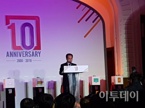 ▲유영민 과기정통부 장관이 22일 IPTV 10주년 기념식을 맞아 문재인 대통령의 축사를 대독하고 있다.
