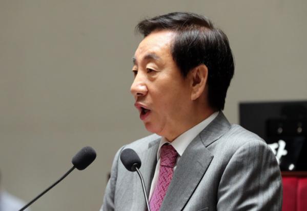 ▲자유한국당 김성태 원내대표가 23일 국회에서 열린 의원총회에서 발언하고 있다. (연합뉴스)
