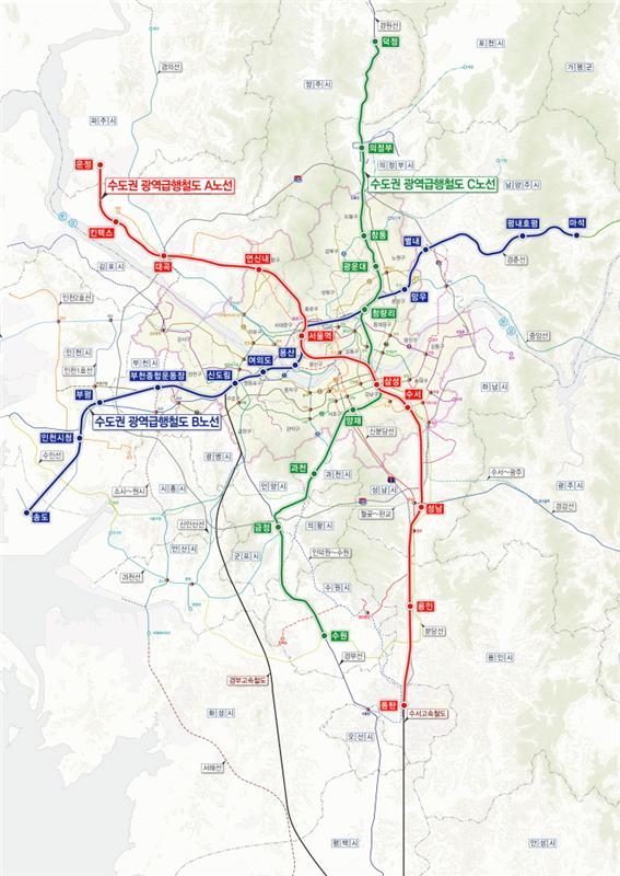 ▲GTX 계획 노선도(자료제공=국토교통부)