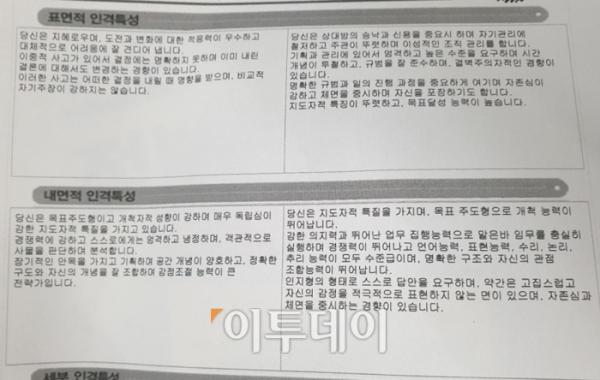 ▲구직자 김성인 씨는 표면적·내면적 인격특성에서 '냉철한 지도자형'이라는 평가를 얻었다. (유정선 기자 dwt84@)
