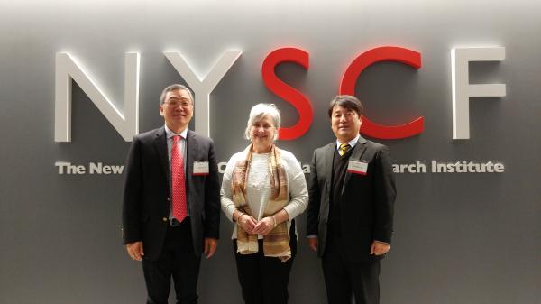 ▲툴젠의 김종문 대표(왼쪽부터), NYSCF의 수잔 L. 솔로몬 (Susan L. Solomon), Ngene Therapeutics의 이봉희 대표가 투자협약을 체결하고 있다. 툴젠 제공.