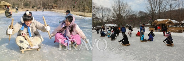 ▲한국민속촌에서 얼음썰매를 즐기는 모습(한국민속촌 제공)