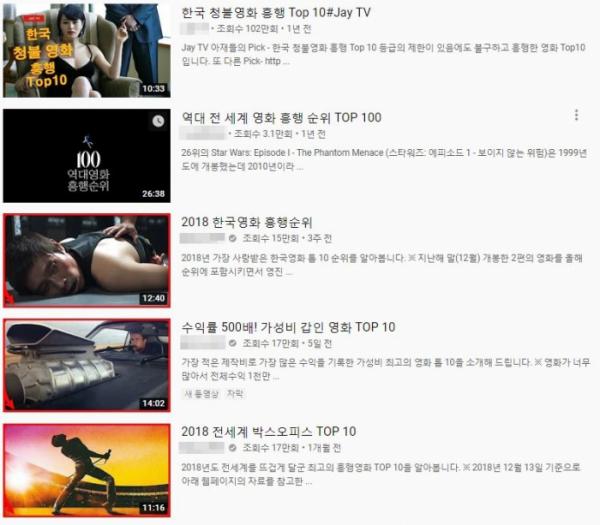 ▲흔한 유튜브의 순위 TOP10 영상들. 가장 흔한 형태의 리뷰 포맷이다. (출처=유튜브 캡처)