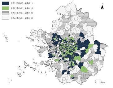 ▲교통비를 고려한 주거부담 수준의 지역 유형화 결과(자료=국토연구원)
