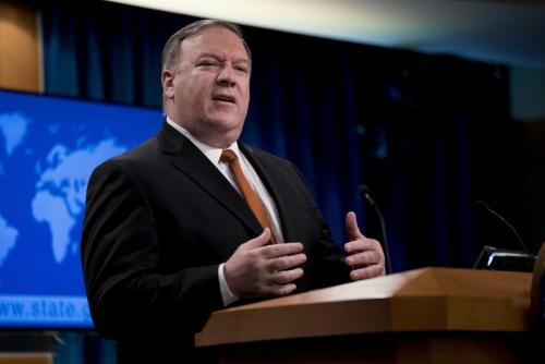 ▲마이크 폼페이오 미국 국무장관이 백악관 브리핑룸에서 기자회견을 하고 있다. AP연합뉴스