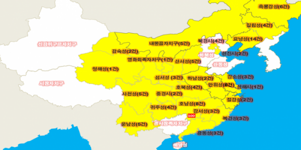 ▲중국 내 아프리카돼지열병 발병 현황(농림축산식품부)
