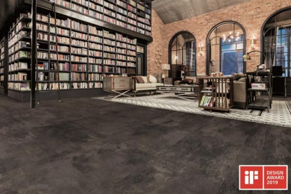 ▲ '프레스티지 - 크랙 콘크리트' 바닥재가 적용된 공간 모습. (사진 제공=LG하우시스)