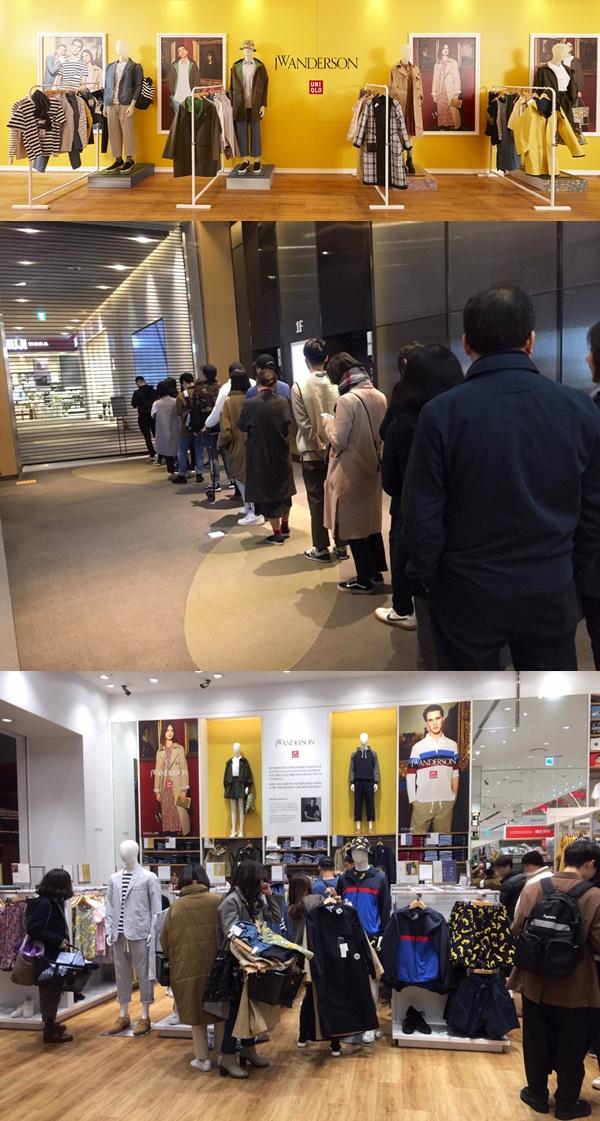 ▲유니클로 롯데월드몰점을 찾은 고객들이 오픈 이전부터 대기하고 있다.(사진제공=유니클로)