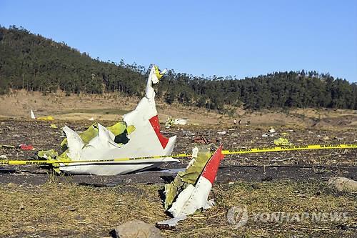 ▲에티오피아서 추락한 보잉 B737-맥스의 잔해 (연합뉴스)