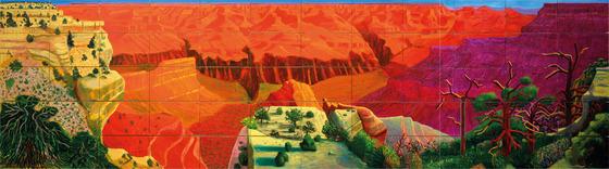 ▲데이비드 호크니, 더 큰 그랜드 캐니언, 1998, 60개의 캔버스에 유채, 207ⅹ744.2 cm David Hockney, A Bigger Grand Canyon, 1998, Oil on 60 canvases, 207ⅹ744.2 cm overall © David Hockney, Photo Credit: Richard Schmidt, Collection National Gallery of Australia, Canberra