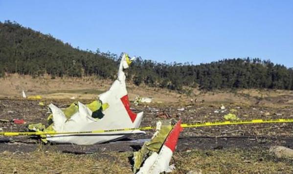 ▲에티오피아서 추락한 보잉 B737-맥스의 잔해