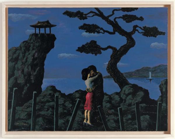 ▲민정기 작가의 1981년 작품 '포옹'. 화면을 가로막는 철조망을 뚫고 만난 두 남녀가 격정적인 포옹을 나누는 장면을 보여준다.(사진제공=문화역서울 284)