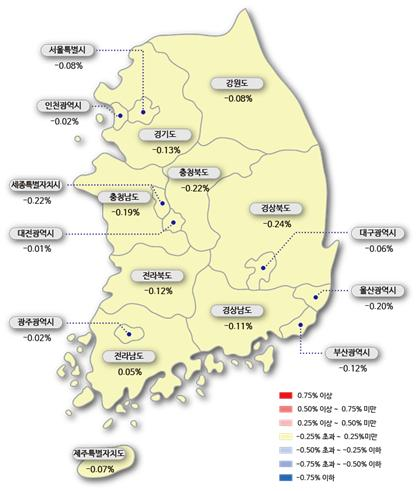 ▲시도별 아파트 매매가격지수 변동률(자료=한국감정원)