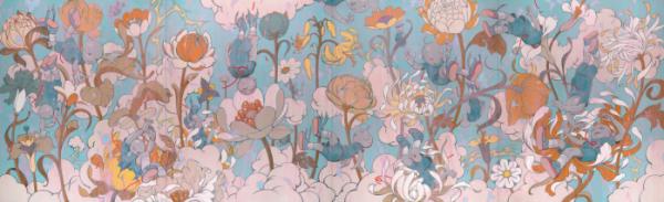 ▲Descendents - Blue Wood, 디센던츠-블루 우드, 캔버스에 아크릴릭, 335.2×1097.2cm, 2019.