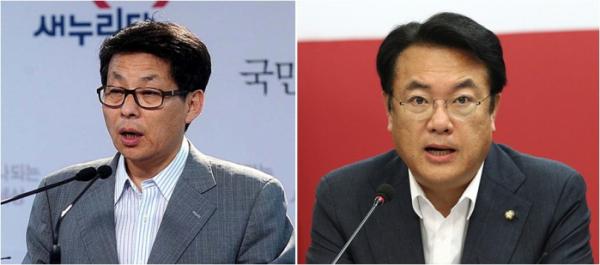 ▲차명진 전 한국당 의원(왼쪽)과 정진석 한국당 의원(오른쪽)
