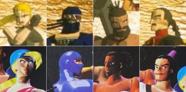 ▲위와 아래는 각각 '버추어 파이터'와 '리얼 파이터'의 플레이어블 캐릭터 비교 사진이다. 보는 사람에 따라 다르게 생각할 순 있지만, 그냥 봐도 콘셉트가 너무 유사하다.