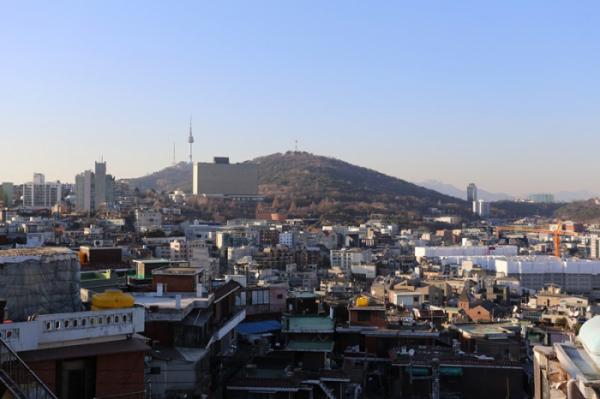 ▲음레코드 옥상에서 내려다본 서울 풍경.