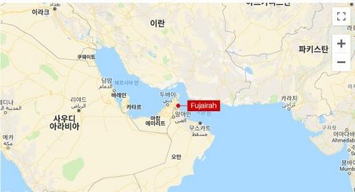 ▲상선 4척이 12일(현지시간) 공격을 받은 아랍에미리트(UAE) 동부 푸자이라 해안. 출처 구글 맵스