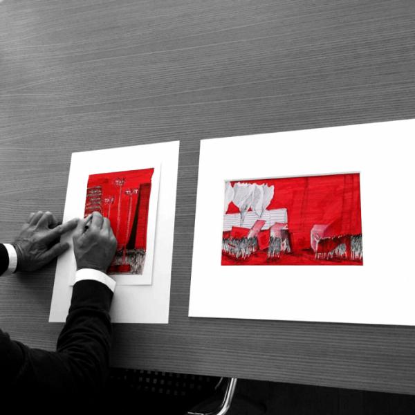 ▲이코 밀리오레의 드로잉, 40 x 50 cm, 검정 펜과 빨강 마커 사용.