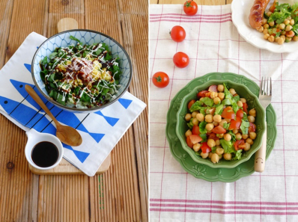 ▲상추 마요 덮밥과 병아리콩 상추 샐러드(야미가든 제공)