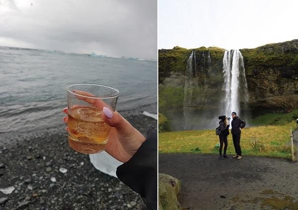 ▲빙하 조각을 넣은 위스키 온더록스(좌), 폭포 뒤까지 트레킹이 가능한 셀랴란드스포스(우)(이화자 작가 제공)