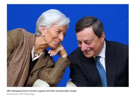 ▲크리스틴 라가르드 IMF 총재(왼쪽)와 마리오 드라기 ECB 총재. 출처:CNBC