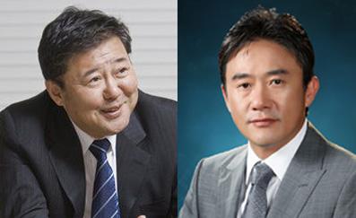 ▲김정완 매일홀딩스 회장과 김정민 제로투세븐 회장