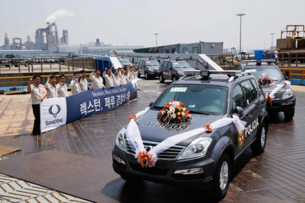 ▲쌍용자동차가 자사제품을 페루에 경찰차로 수출하고 있다.(사진제공=쌍용차)