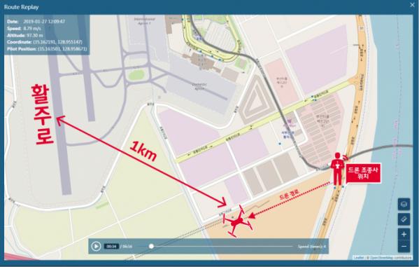 ▲지난 1월 27일 김해공항에서 약 1km 떨어진 지역에서 드론 1대가 최고 고도 170m로 6분간 4km를 비행했다.(사진제공= SK텔레콤)