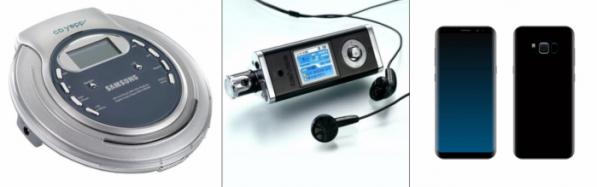 ▲왼쪽부터 CD플레이어, MP3플레이어, 스마트폰. 말그대로 기하급수적인 기술발전 속도였다.