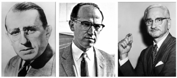 ▲그림 1 . 폴리오 백신 개발 과정에서 중요한 역할을 한 3인. 바실 오코너 (좌, Basil O'connor, , 1892-1972)는 프랭클린 루즈벨트의 변호사로써 나중에 '마치 오브 다임' 이라는 이름으로 불리게 되는 소아마비 국립재단의 회장으로써 20세기 중반의 폴리오 연구 및 백신 개발의 지원에 큰 영향력을 행사했다. 조너스 소크 (Jonas Salk, 1914-1995)는 소아마비 국립재단의 전폭적인 지원하에 최초의 불활성화 폴리오 백신을 개발하였고, 소크의 이름은 소아마비 퇴치의 대명사가 되었다. 알버트 사빈 (Albert Sabin, 1906-1993)는 약독화한 생바이러스를 이용한 경구 투여 가능한 소아마비 백신을 개발하였고, 경구 투여 가능한 소아마비 백신은 세계적으로 가장 널리 보급된 소아마비 백신이 되었다.
