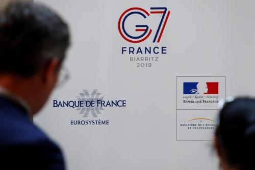 ▲지난달 17일(현지시간) 프랑스 파리에서 개막하는 G7 재무장관·중앙은행 총재회의 로고가 보인다.(파리/로이터연합뉴스)