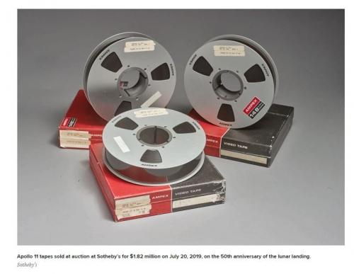 ▲아폴로 11호 달 착륙 과정을 담은 원본 테이프가 뉴욕 소더비 경매에서 182만 달러에 팔렸다. 출처:CNBC