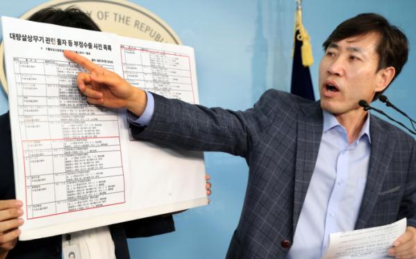 ▲바른미래당 하태경 의원이 12일 서울 여의도 국회 정론관에서 기자회견을 갖고 일본의 대량살상무기 관련 물자 등 부정수출 사건목록을 보여주고 있다.(뉴시스)