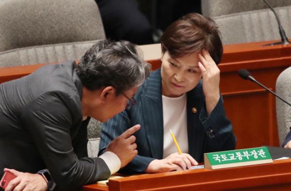 ▲김현미 국토부 장관(오른쪽)이 15일 국회에서 열린 예산결산특별위원회 전체회의에 참석했다(사진=연합뉴스)