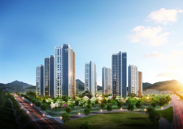 ▲'광주역 자연&자이' 아파트 투시도.